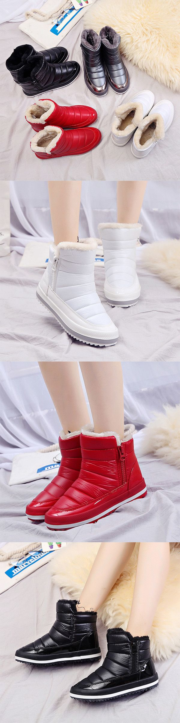 US$24.52    M.GENERAL Waterproof Warm Pure Colour Fur Lining Short Snow boots For Women