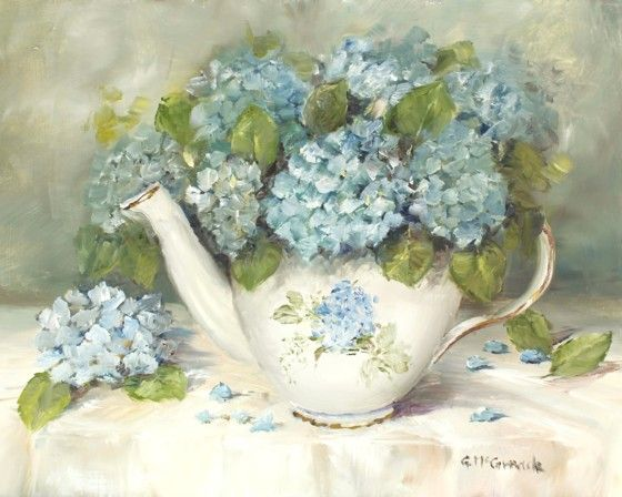 PRINT ON PAPER - Hydrangeas in a Tea Pot - Postage is included World Wide