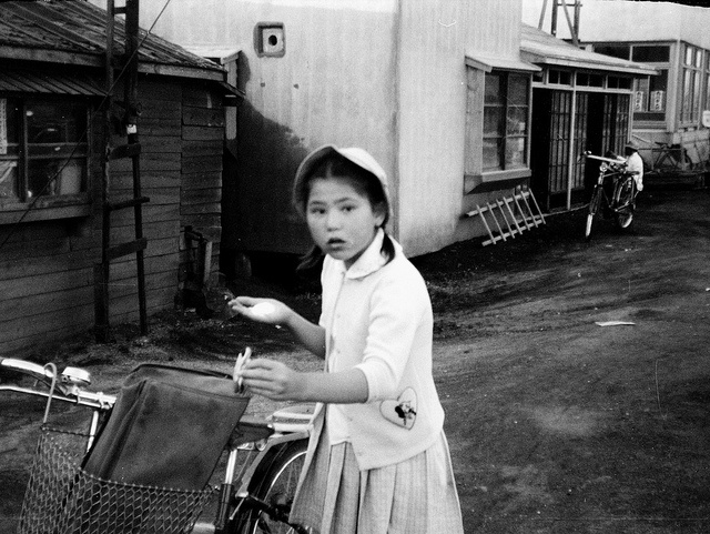 Young girl with her bicycle in Chitose Hokkaido Japan 1961 by asachitose, via Flickr