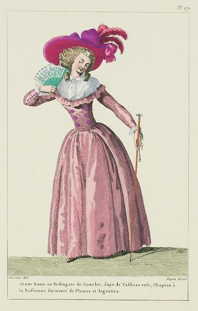 Young Lady in a Camlet Redingote: pink Taffeta Petticoat, Hat à la Bastienne surmounted by Plumes and Aigrettes. (1787)