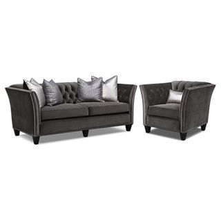 Nicole Charcoal Sofa | American Signature Furniture · Living Room ... Part 67