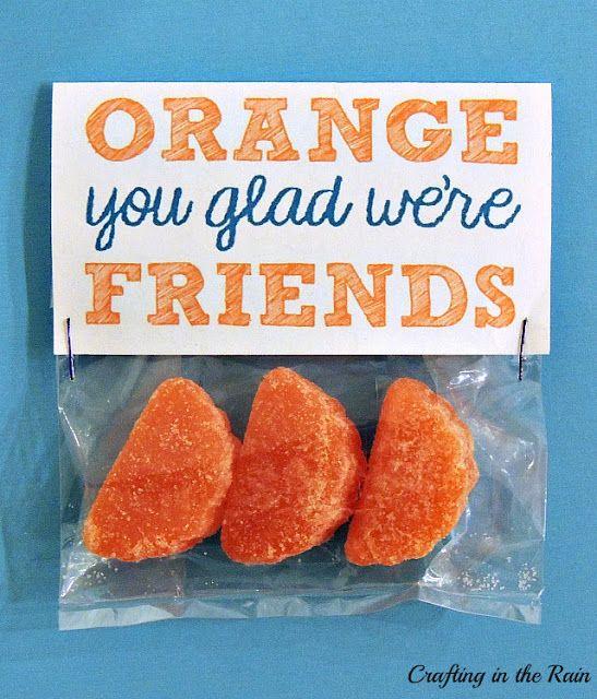 """""""Orange You Glad"""" Valentines: Ha! The good ole' orange pun.  It never gets old."""
