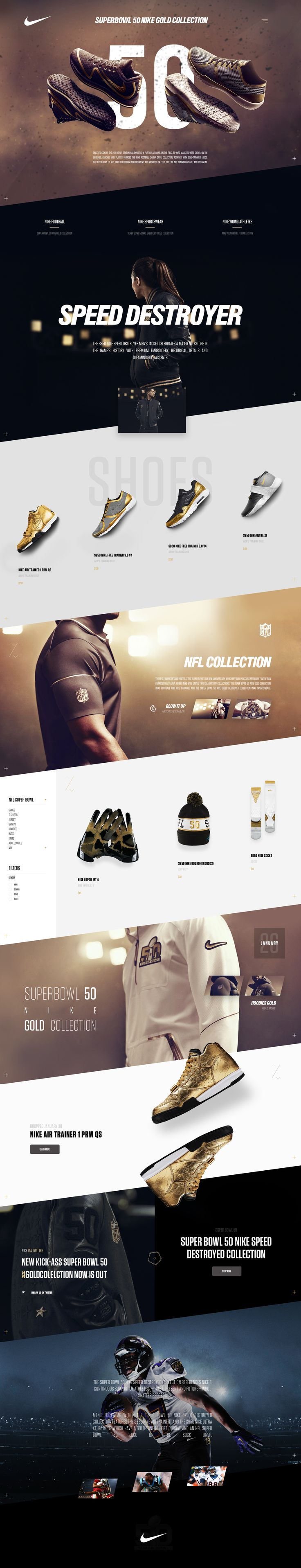 Nike 50's SuperBowl Anniversary #dribbble #ui #ux #webdesign #nike