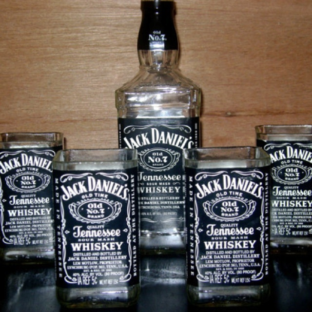 Jack Daniels glasses.... Great gift for any whiskey loving man (or woman). Just got them for my Dad for Christmas! http://www.etsy.com/shop/ Also have glasses made of vodka bottles, wine bottles, and much more!