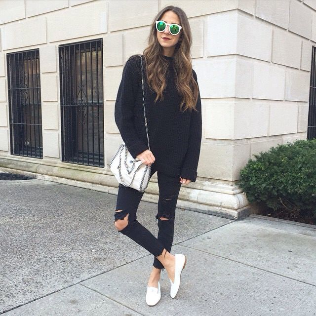 Arielle - total black and white bag