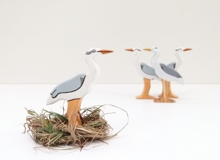 Wooden heron toy Birds toys Wooden Bird toy Pretend play Bird toy figurine Learning toys for toddlers by WoodenCaterpillar on Etsy