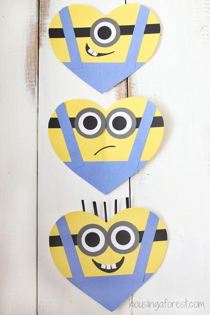 """Join the Minion craze with cute little minion crafts that make the perfect Valentines for all of your child's friends. These Adorable Minion Valentine's Day Hearts fit all of the wackiness of a Minion into a festive heart shape. When you turn a friendly face into a heart it can become fun Valentine's Day cards for the young and young at heart. Once you <a href=""""http://www.allfreekidscrafts.com/tag/Minion-Crafts&q..."""