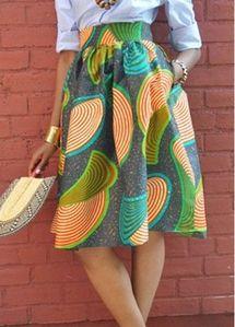 Printed Empire Waist Knee Length Skirt