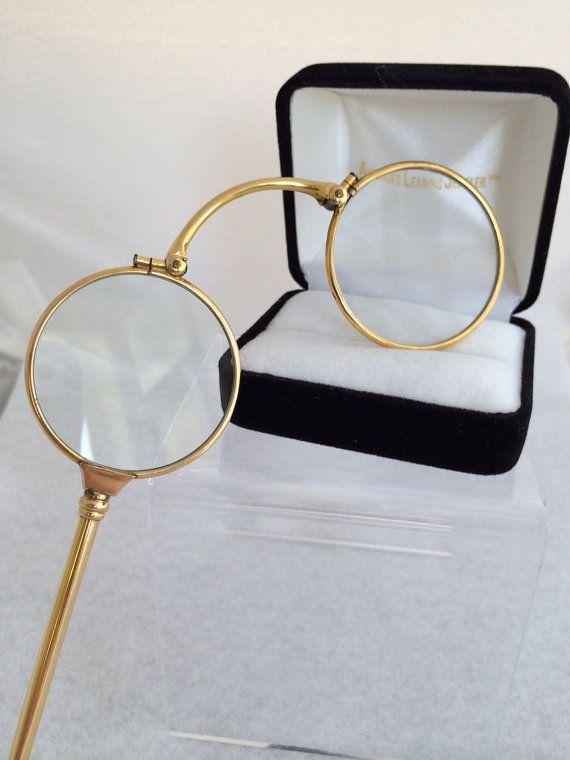 14k Solid Gold Eyeglass Frames : 14K Solid Fine Gold Lorgnette Opera folding Antique Eye ...