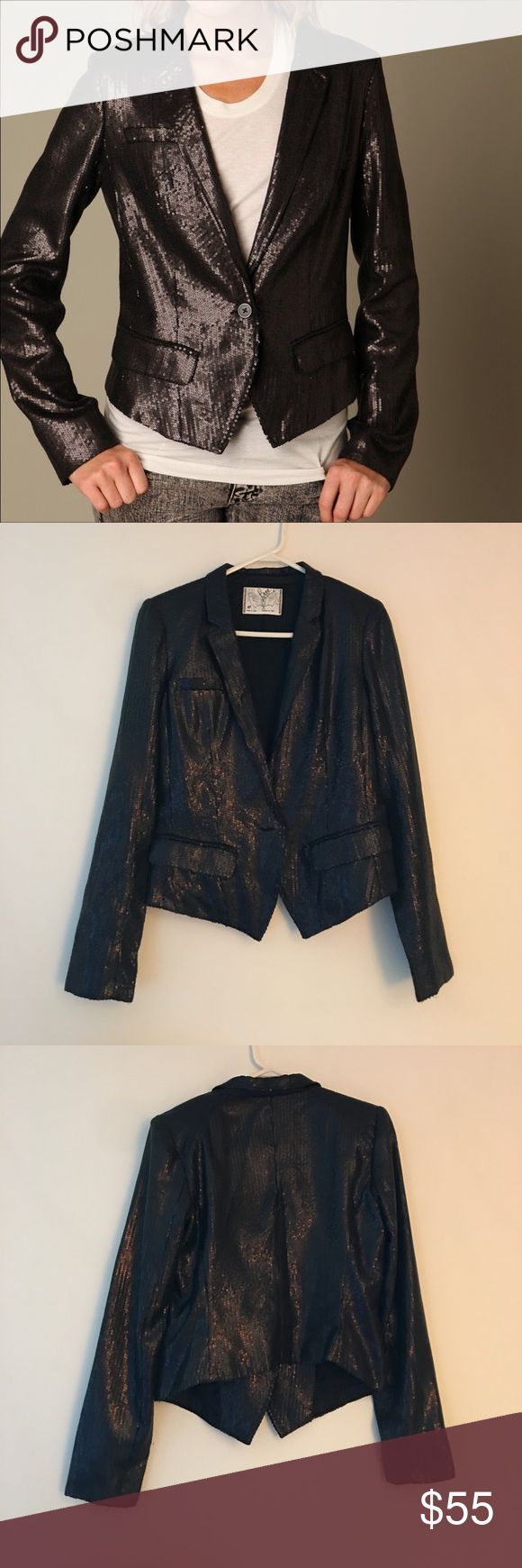 Free People Sequin Blazer FP black sequin blazer. Great used condition, some snags and fraying but nothing too noticeable. Some minor wear but no stains or holes. Single button closure, longer in front than back, padded shoulders. Make an offer! 😊 Free People Jackets & Coats Blazers