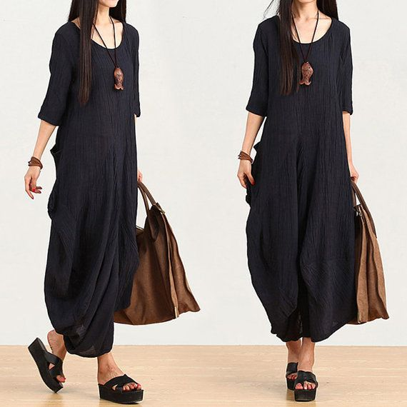 black summer dress loose linen dress maxi dress plus size dress casual loose dress casual skirt clinen skirt