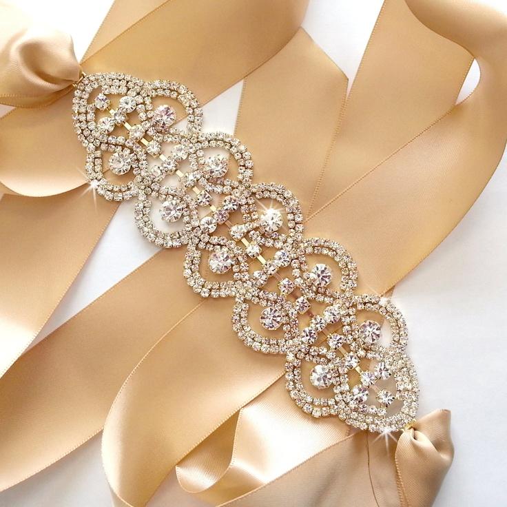 Gold Rhinestone Encrusted Bridal Belt Sash - Custom Champagne, Ivory, White, Black Ribbon - Silver and Crystal Wide Wedding Dress Belt. $60.00, via Etsy.