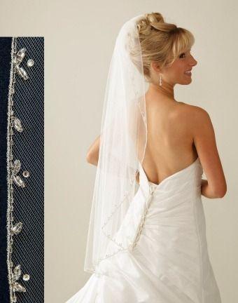 Beaded Vine Edge Fingertip Length Wedding Veil C342