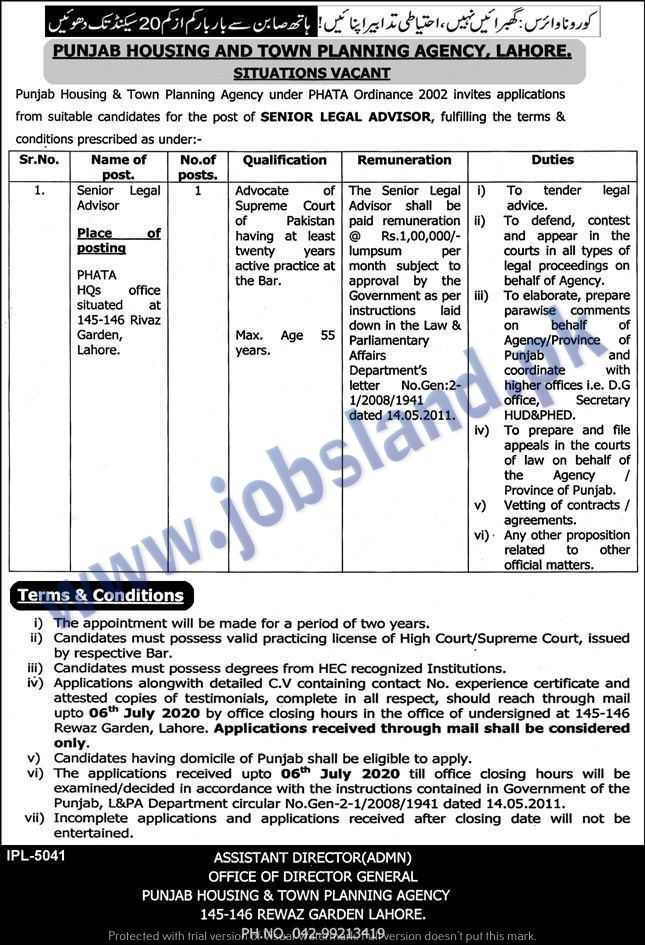 Punjab Housing And Town Planning Agency Contract Jobs No Experience Jobs Legal Advisor