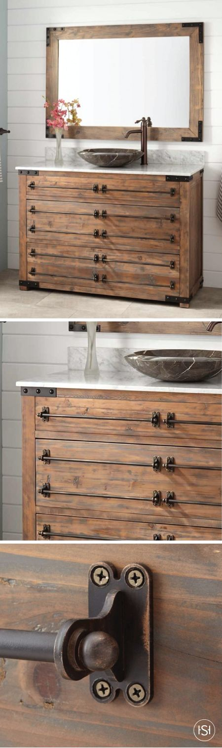 "Function and style come together in this industrial-inspired 48"" Bonner Reclaimed Wood Vanity by Signature Hardware. With built-in storage and unique metal pipe drawer handles, it's the perfect addition to your master bathroom."