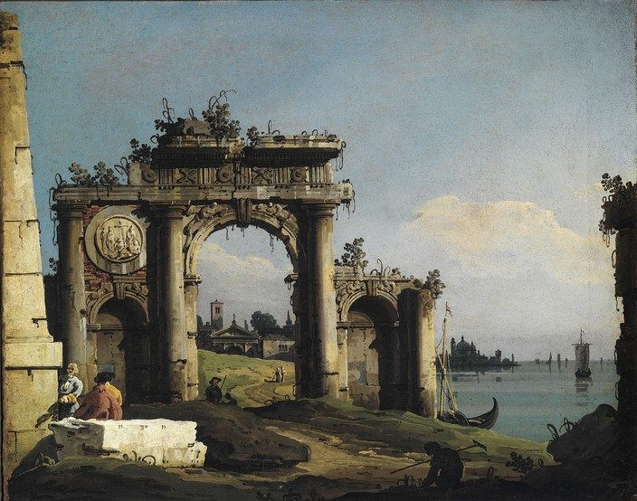 Bernardo Bellotto - Capriccio with ruins of a triumphal arch at the lagoon shore, c. 1743