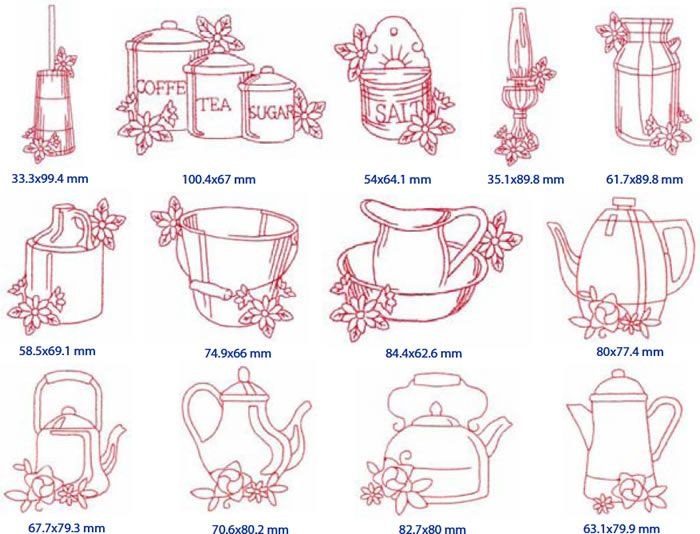 Janome Australia Embroidery Design Esqa Redwork Country Kitchen Embroidery Bits Pinterest