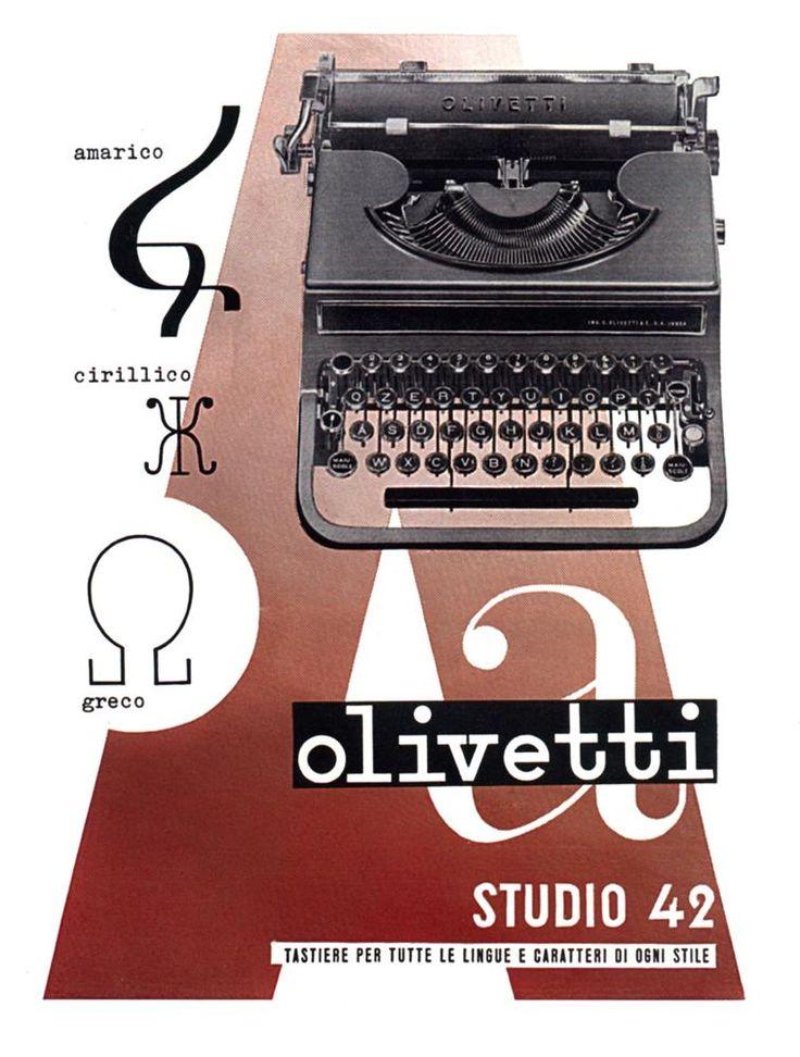 La pubblicità disegnata nel 1939 da Giovanni Pintori, per la macchina per scrivere semistandard Studio 42, progettata da Ottavio Luzzati e presentata nel 1935, richiama l'attenzione sulla varietà dei caratteri e delle tastiere che su richiesta del cliente possono essere montate su questa macchina
