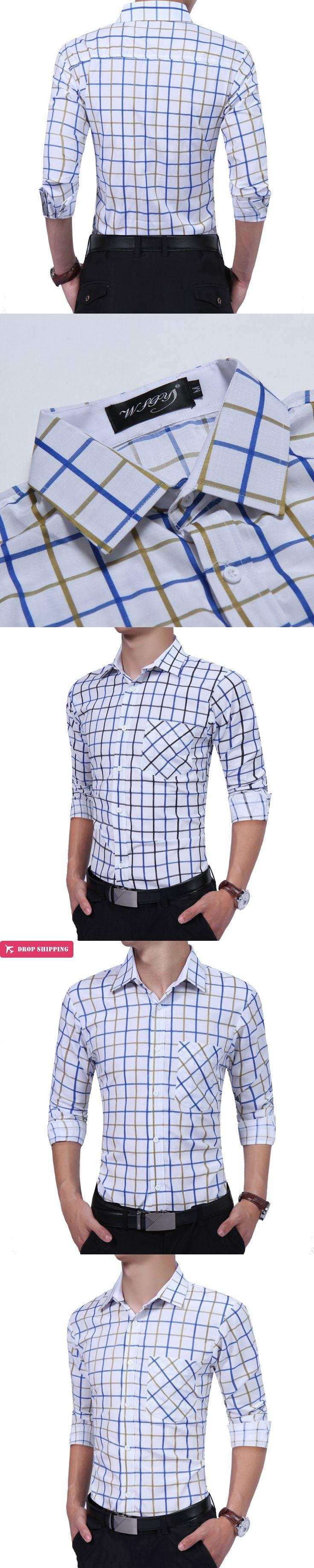 Men Dress Shirts 2017 Autumn Fashion Slim Fit Long Sleeve Man Plaid Casual Shirt Size XXL Camisa Masculina