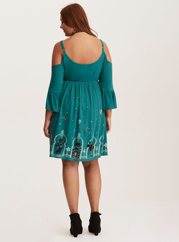 WOULD LOVE TO RECREATE THIS PATTERN - Disney Aladdin Green Border Print Cold Shoulder Dress, EMERALD