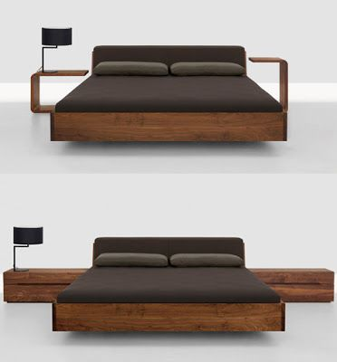 Home Design & Decorating: Solid Wood Beds - Fusion bed with upholstered headboard by Zeitraum