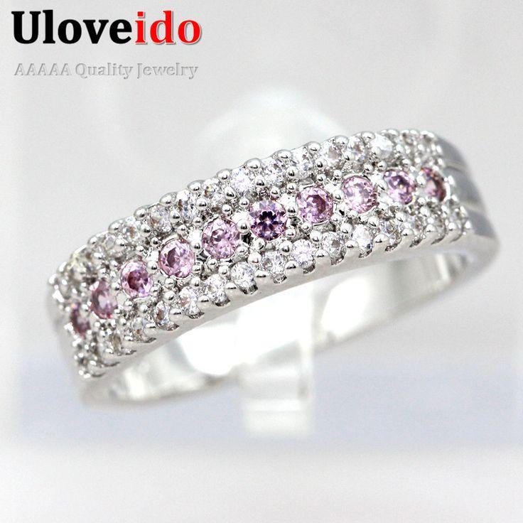 Uloveido joyas de cristal de color rosa anillos de bodas para los regalos de las mujeres de la vendimia brincos anel feminino anillo cubic zirconia mujer encantos y014