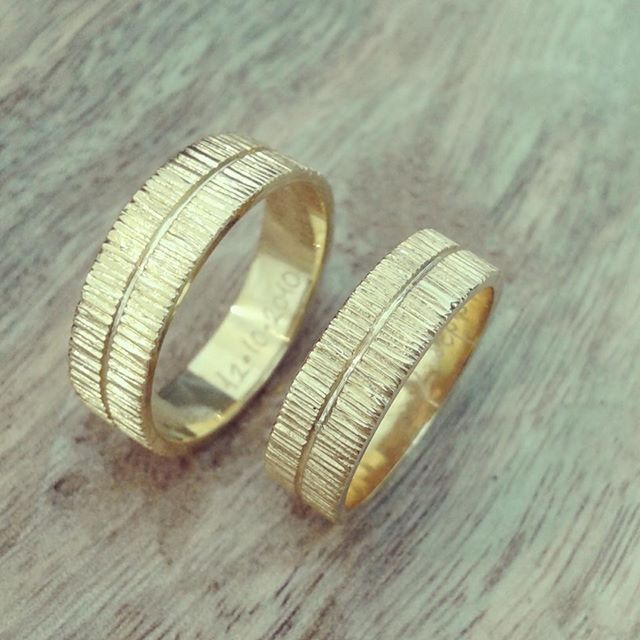 yellow gold wedding bands.