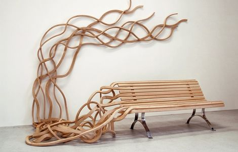 Modern furniture design meets Salvador Dali.: Wooden Benches, Parks Benches, Chairs, Pablo Reinoso, Seats, Urban Furniture, Furniture Design, Pabloreinoso, Gardens Benches