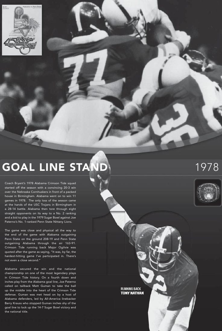 "Alabama 1978 National Champions featuring Tony Nathan and Barry Kraus in the ""Goal Line Stand"" - 2015 Football Media Guide by Alabama Crimson Tide #Alabama #RollTide #BuiltByBama #Bama #BamaNation #CrimsonTide #RTR #Tide #RammerJammer"