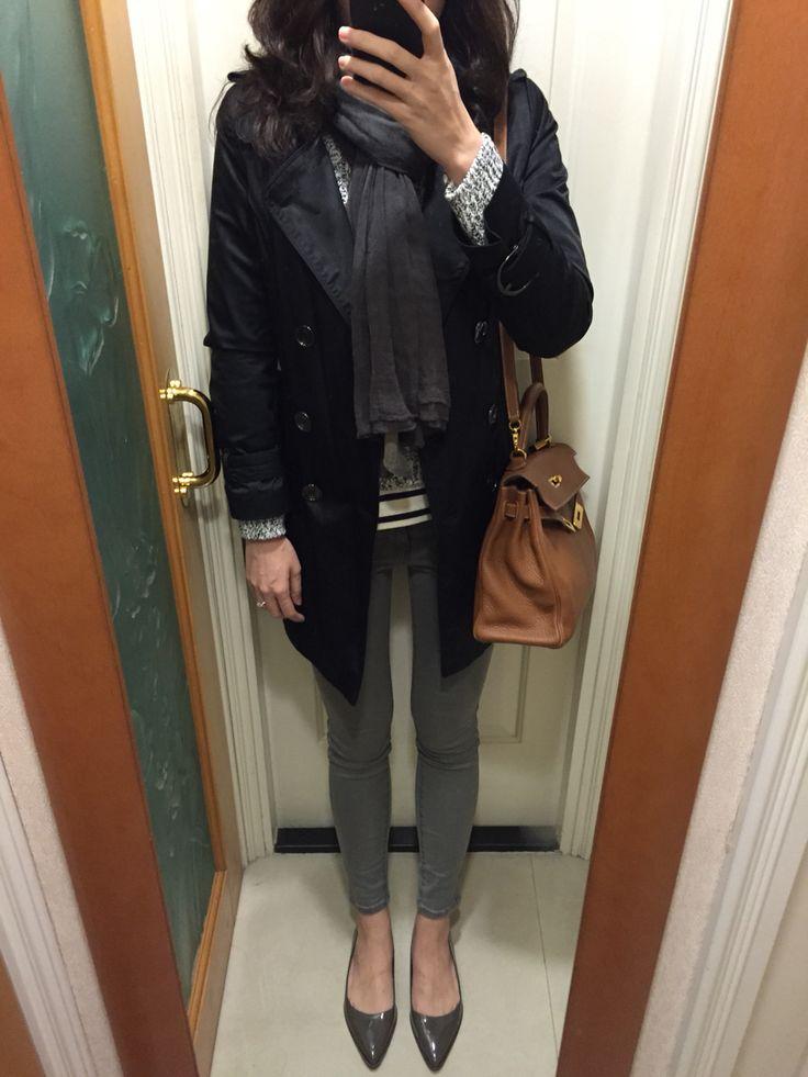 UNIQLO shirt, Zara biker skinny jeans and pointy flats, Hermes ...