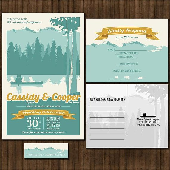 Custom Vintage Mountain Wedding Invitation Suite with RSVP postcards and address labels