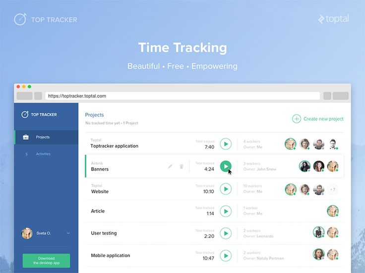 Hello, everyone! This is part of a redesign project for Top Tracker, Toptal's time tracking application that was built to help freelancers optimize their productivity. I'm excited to share more soon!