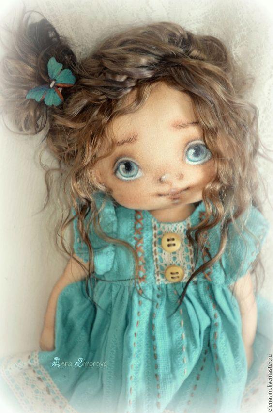 Купить Девочка в бирюзе - бирюзовый, текстильная кукла, интерьерная кукла, авторская кукла, ручная работа