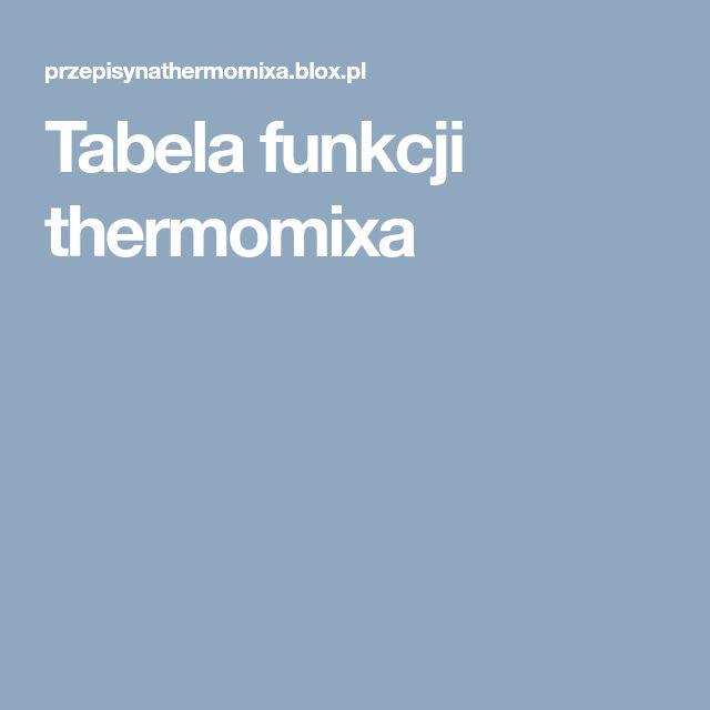 Tabela funkcji thermomixa