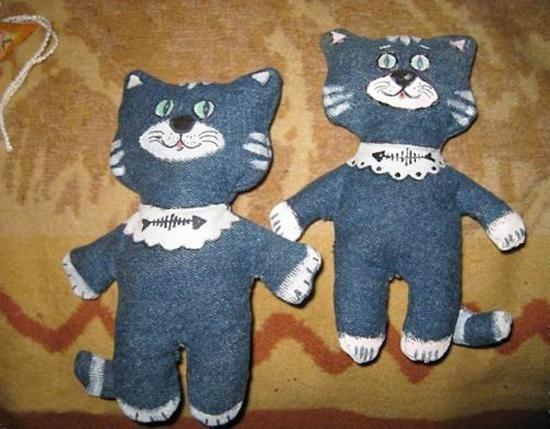 recycleren ambachten gemaakt van oude jeans