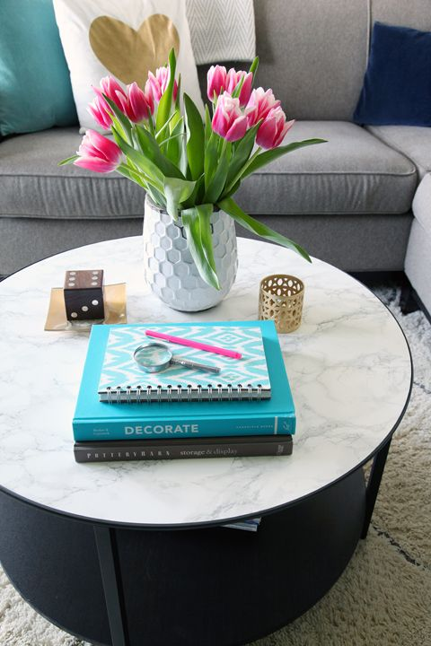 DIY marble top coffee table using contact paper!