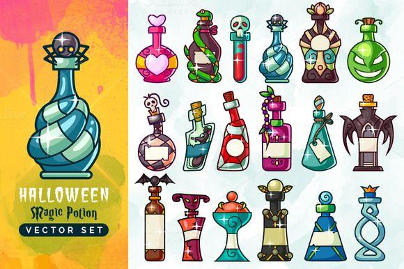 Halloween Magic Potion Bottles Set by pixaroma on Creative Market
