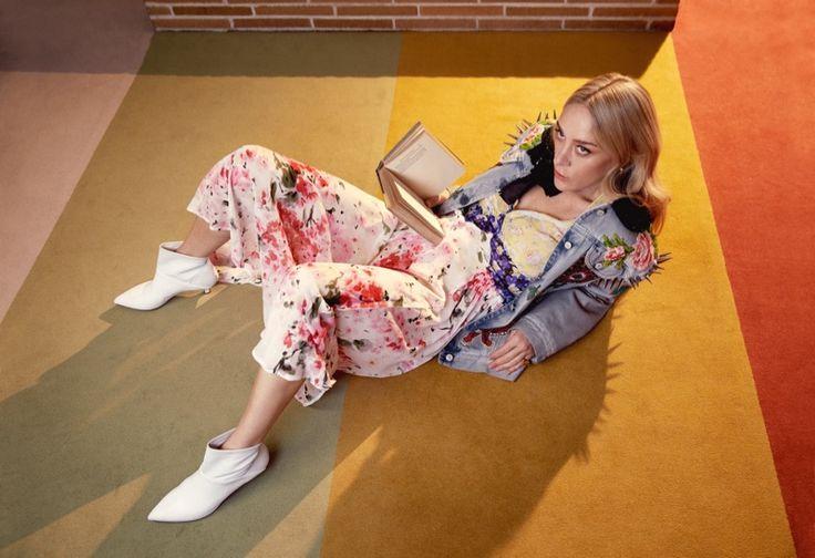Chloe Sevigny wears Gucci jacket, Attico dress and Tibi boots