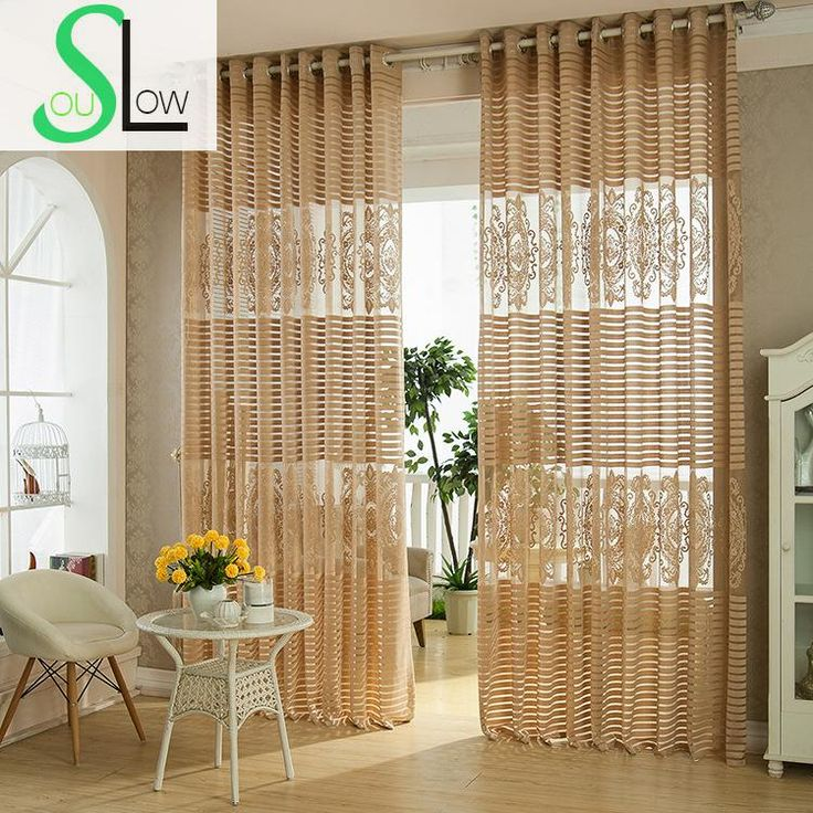 Slow Soul Light Coffee White Deep Yellow Stripe Curtain Hollow Europe  Striped Tulle Curtains For Living