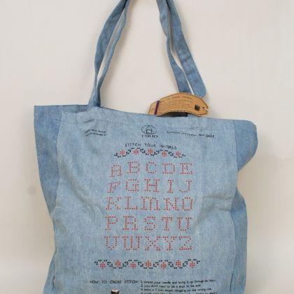 Cross Stitch Alphabet Bag with a trick