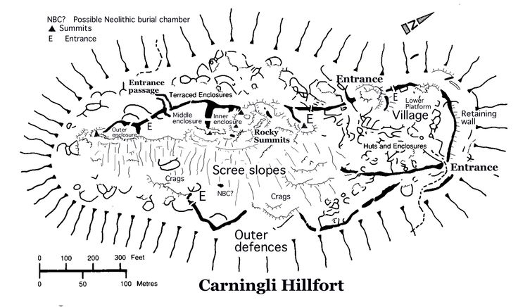 Map of the defensive structures and Iron Age village on Carningli