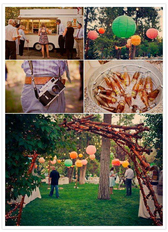 Yes yes yes!!! Great idea for a wedding, family reunion or party!  www.bitefreshfood.com  food truck, bucket of beers, twinkle lights and branch arch. I WANNA ENJOY THIS WIT THE BUDDIES.