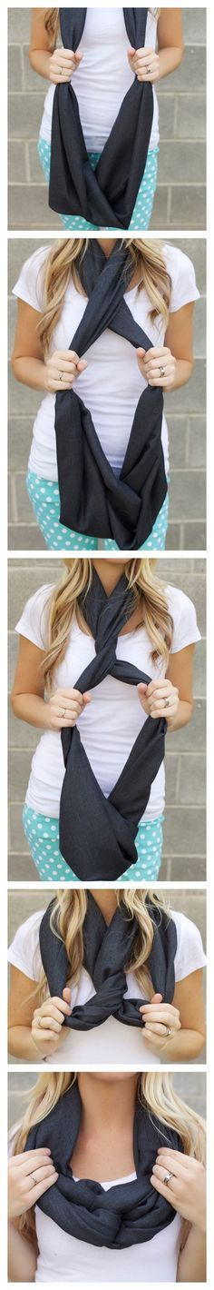 Another way to tie an infinity scarf |
