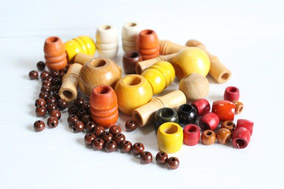MACRAME BEADS Large, Medium, and Small Barrel and Round Wood beads, yellow beads, brown beads,red beads, wood art supplies,wood craft supply