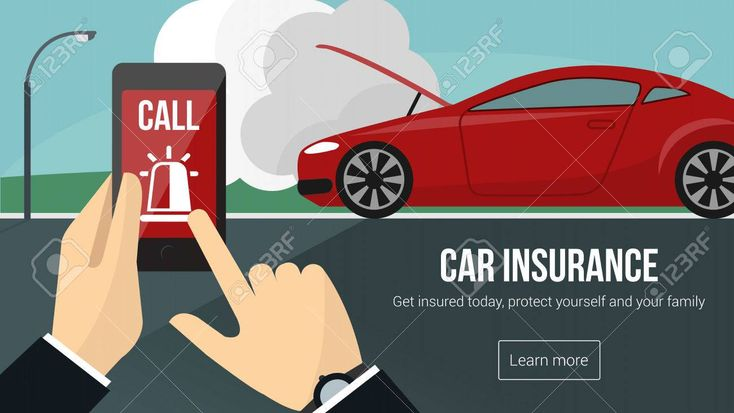 Car insurance banner with man calling emergency services using a mobile phone an…