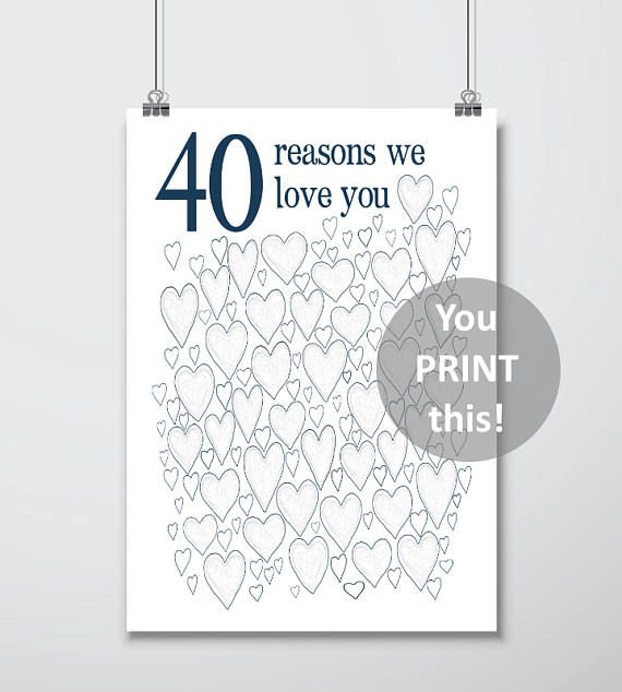 40th Birthday Gift For Man 40th Birthday Gifts For Husband For Him Men For Dad Printables Party Decorations Guest Book Download 40th Birthday Poster Mens Birthday Gifts 40th Birthday Gifts