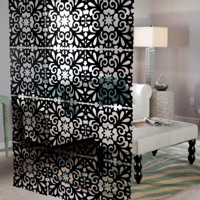 raumtrenner ideen raumteiler vorhang raumteiler regal weisse deko wand schwarz dekorativ
