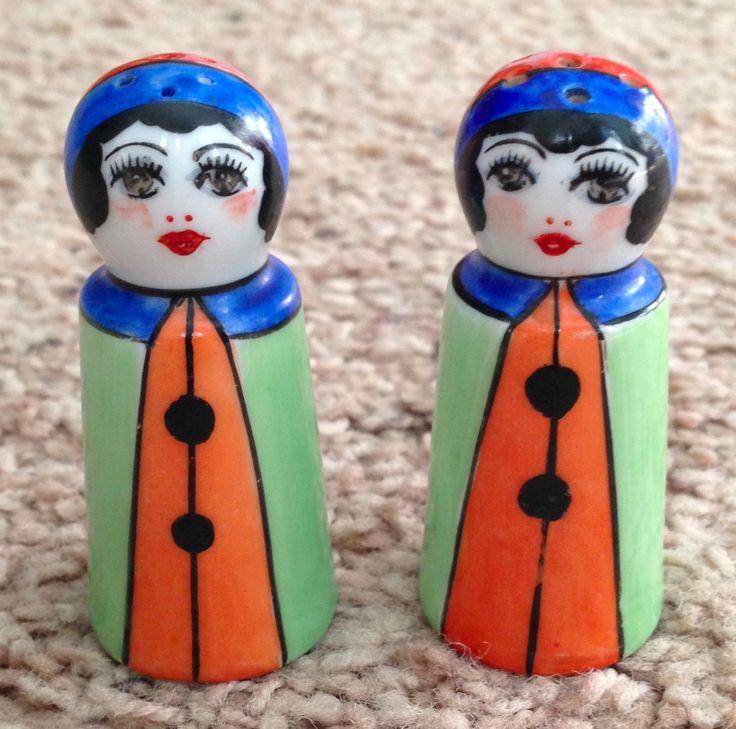 Vintage Noritake Japan China Pottery Deco Lady Woman Salt Pepper Shakers | eBay