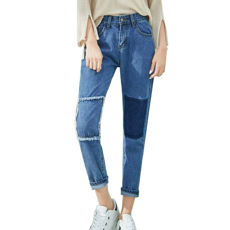 14.99$  Buy here - http://aliree.shopchina.info/go.php?t=32733902304 - Stitching Jeans Patch Pencil Pants Ripped Jeans for Women Slim Trousers Plus Size XL Jean Feminino Solid Blue Skinny Denim Pants  #buyonline
