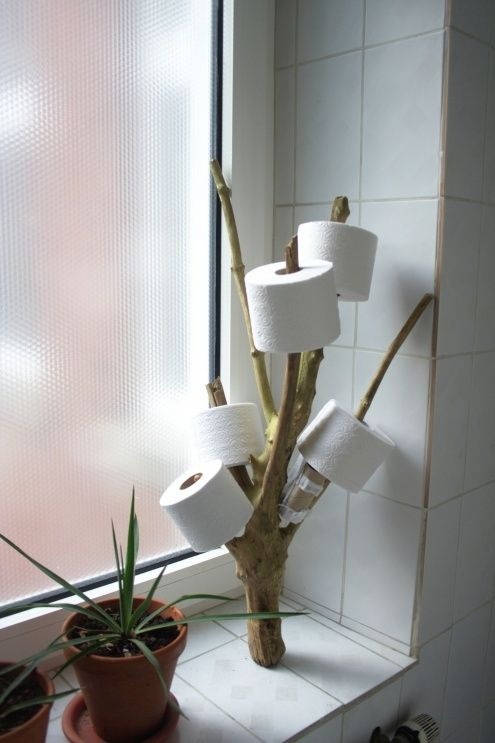 A funny toilet paper holder!